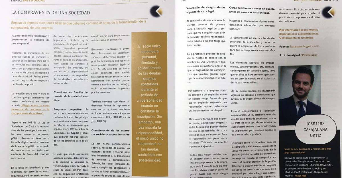 Participación en la revista Eventos y Networking
