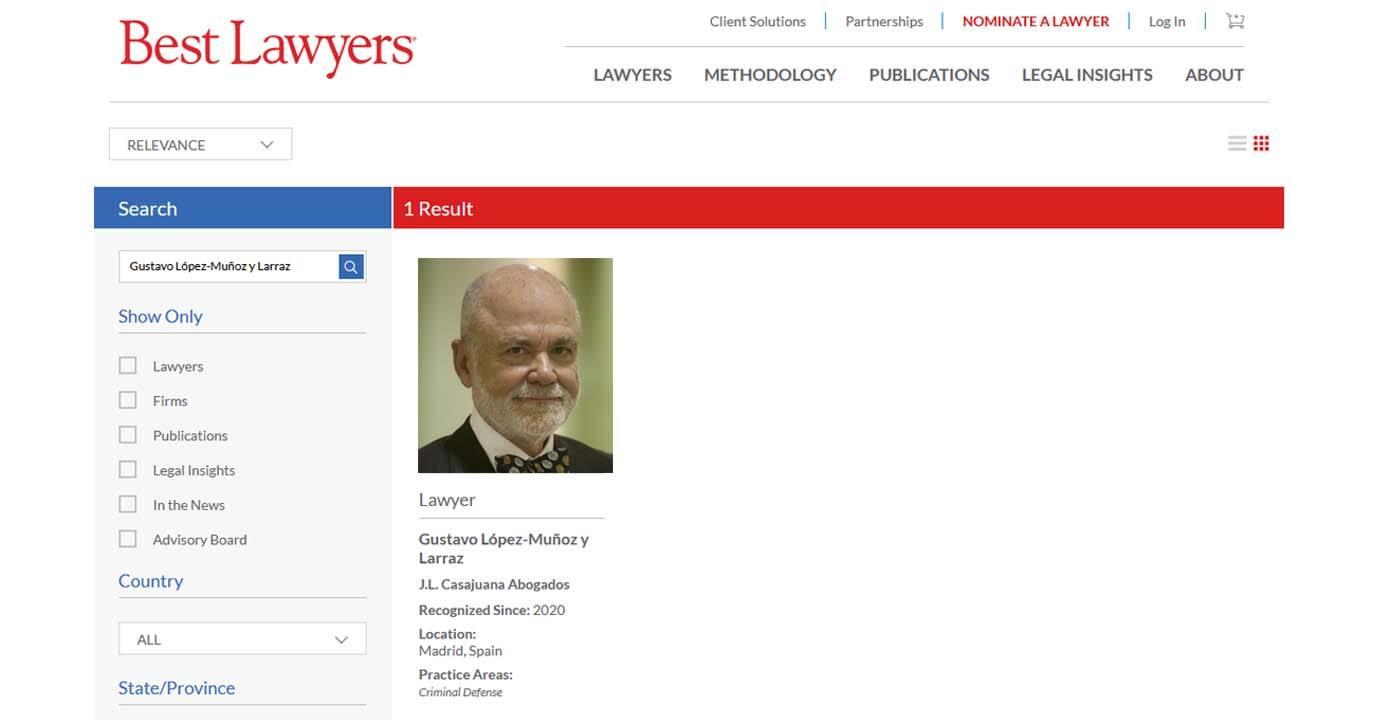 Gustavo López-Muñoz y Larraz seleccionado en el directorio «Best Lawyers 2020»
