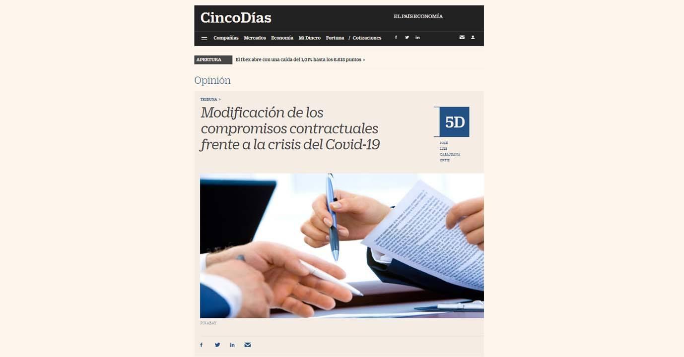 Modificación de los compromisos contractuales frente a la crisis del Covid-19